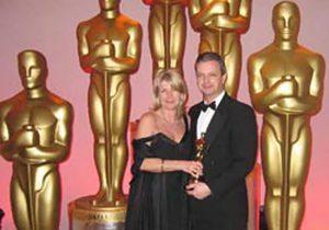 Adam & Lynne with 'borrowed' Oscar